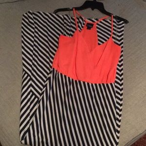 Coral and Navy stripe maxi dress